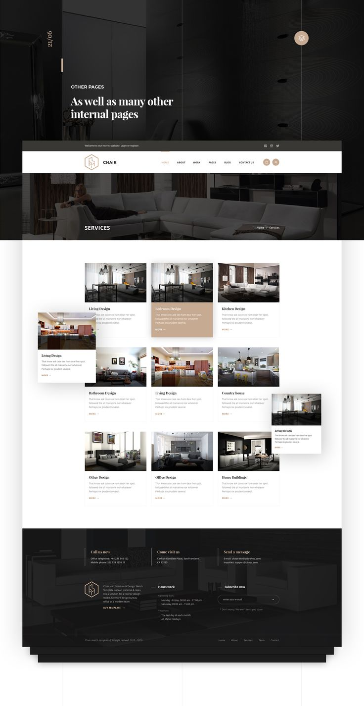 chair is a pixel perfect and creative web site for interior design architecture minimal
