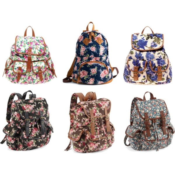 Floral bookbags ♥ I would get one for school... But they aren't the most functional backpack...
