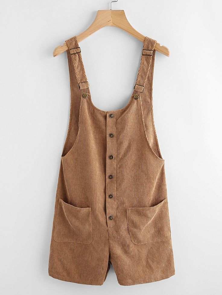 Shop Button Up Patch Pocket Detail Cord Overalls online. SheIn offers Button Up Patch Pocket Detail Cord Overalls & more to fit your fashionable needs.