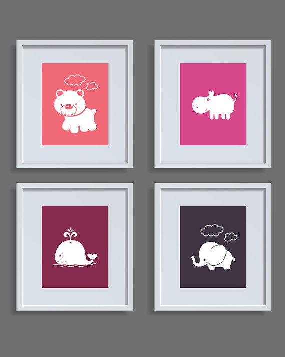 Bär, Kinderzimmer-Set 4, Kinder Zimmer Kunst, Baby Kinderzimmer Druck, 5 x 11 x 14, 7, 8 x 10, Nilpferd, Elefant, Wal Kinderzimmer, Kinderzimmer Wand Kunstdruck baby Dekor