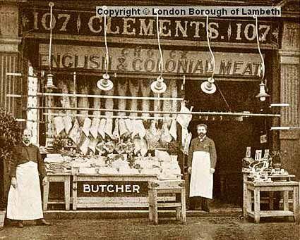 Clements butchers, 107 Brixton Hill c.1910.