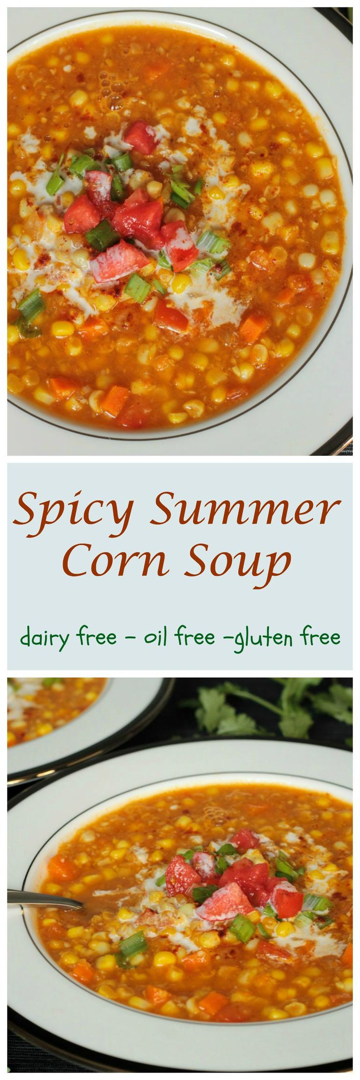 Spicy Summer Corn Soup - there is nothing better than fresh #sweetcorn in the summer. Use it in this dish for a flavorful sweet corn soup. It's a little #spicy and a little #smoky too!  #soup #corn #dairyfree #vegan #glutenfree #oilfree