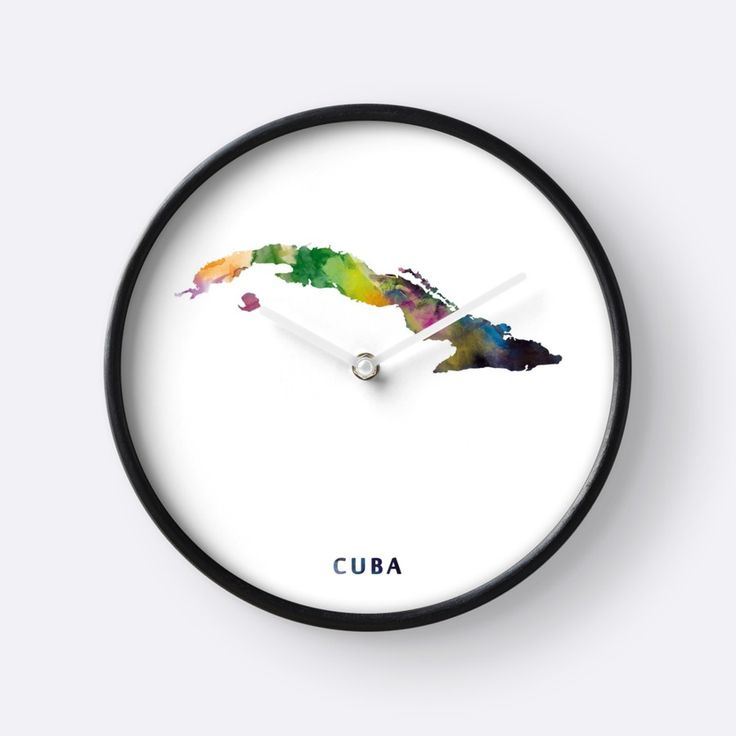 Cuba Map   #cuba #state #map #art #print #clock #home #office #wall #decor #gift #ideas #shopping #colorful #watercolor #abstract