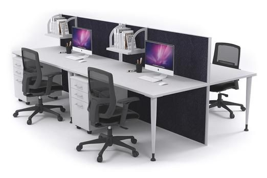4 Person Workstation Desks With Acoustic Screens White Leg Horizon. This 4 person office workstation is the perfect open plan office desking option. The Horizon workstation has a full length acoustic screen that is pinnable and reduces noise in the workplace.