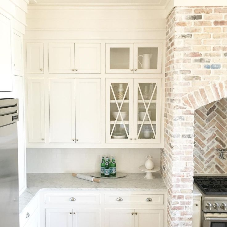 BM White Dove on cabinets, reclaimed Chicago brick with heavy mortar wash