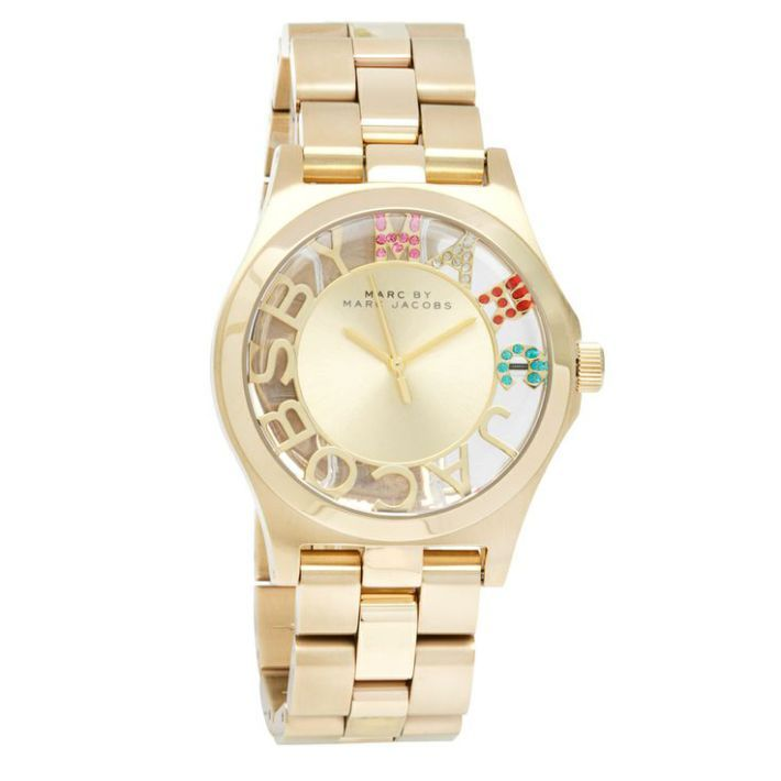 Montre pour femme : How cute is this Marc Jacobs Womens Henry Goldtone Stainless Steel watch? We