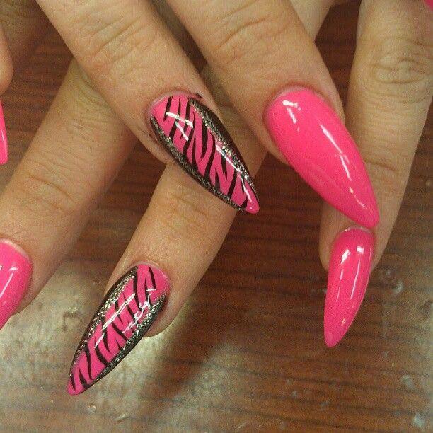 Pink stiletto almond pointed zebra nail art