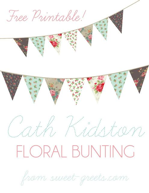 Just Peachy Designs: Free Floral Bunting Printable More