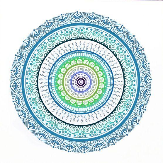 Hand Drawn Mandala Print Bright Blue Mandala por WestridgeART