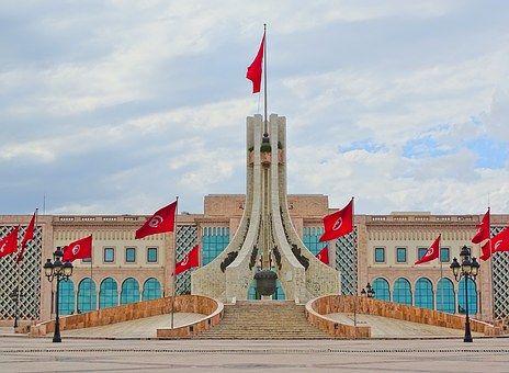 Place, Tunisie, Tunis, Drapeaux