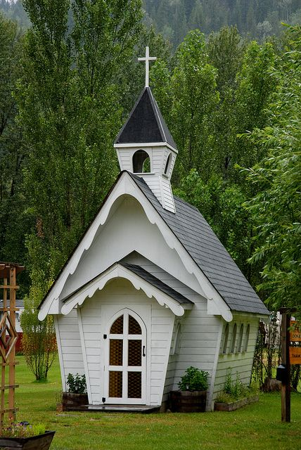 """Shuswap Tiny Church  ~   located in Shuswap, BC, is a functioning church that seats 8.   """"Two or more, gathered in his name"""" so this tiny church is just big enough."""