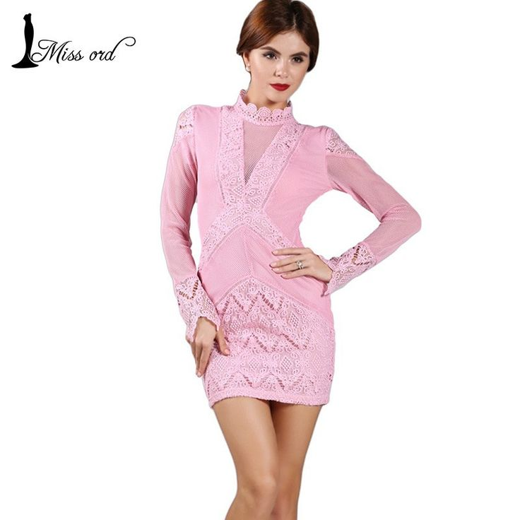 Free Shipping 2015 Sexy V-neck lace stitching Long sleeve dress FT2388…