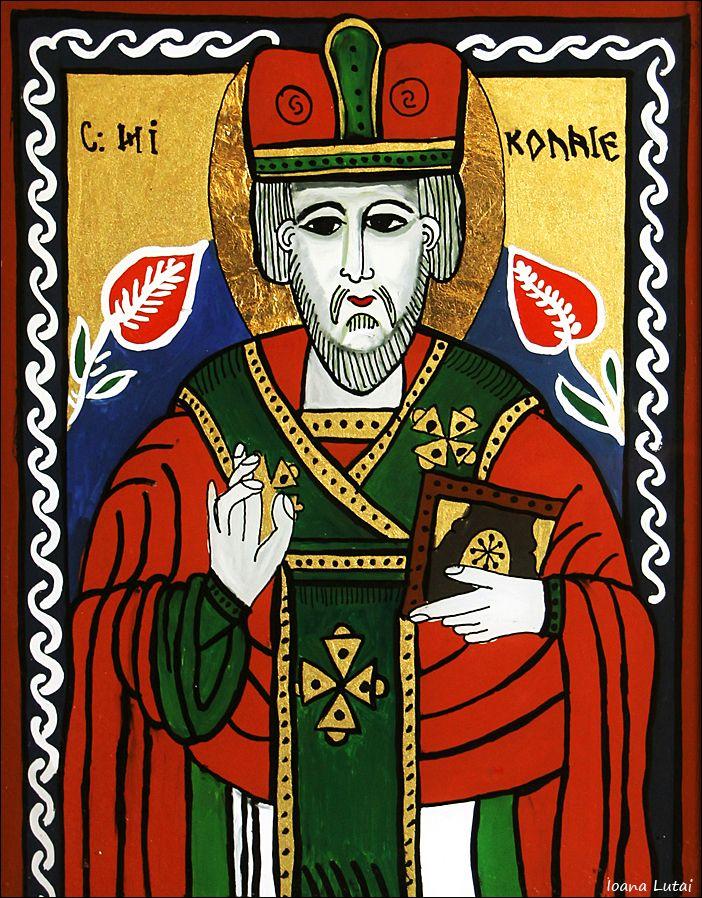 Sfantul Nicolae - Icoane pe sticla Sapanta - Ioana Lutai - foto Cristina Nichitus Roncea http://icoanepesticla-sapanta.ro