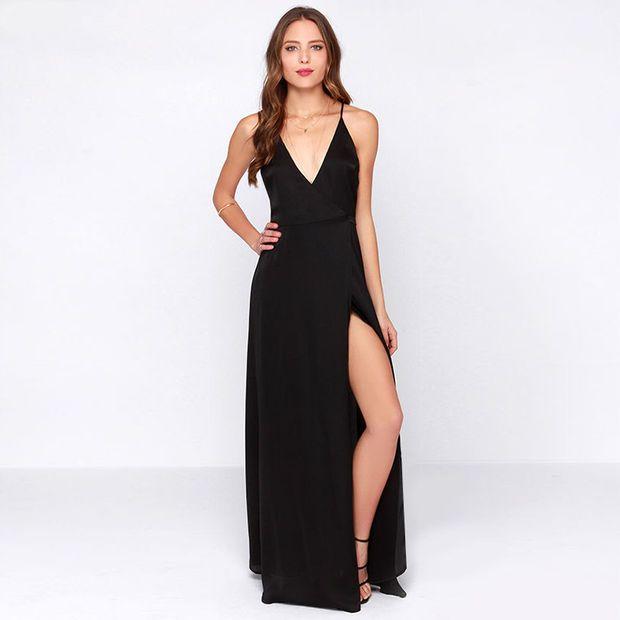 Black V-neck Cross Strap Back Maxi Dress with Side Slit