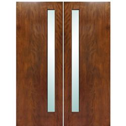 Modern Architectural Doors Model Nobu-2. Modern flush Mahogany double entry doors with white laminated glass panels. Customize the double doors for your home today!