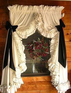 Ruffle curtains light cream with mocha or black 2nd ruffle, country curtains…                                                                                                                                                                                 Plus