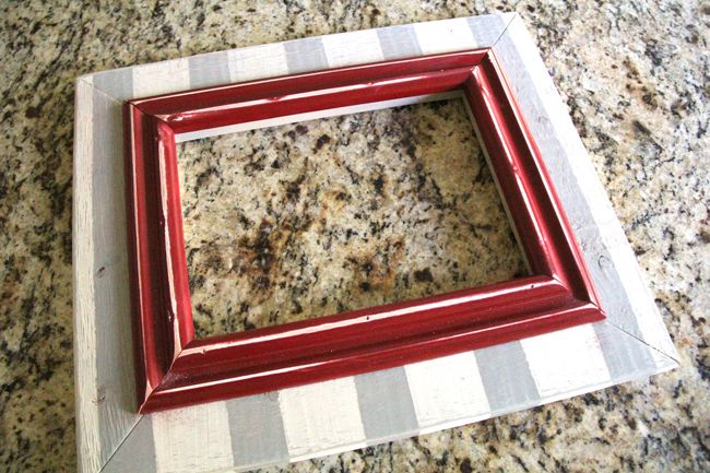 """Make your own frame!  Miter Box hand-saw.  scrap trim pieces.  Mask-off stripes with Painter's Tape before adding second color of acrylic craft paint.   """"Ratcheting Band Clamp"""" (under $10 - try Amazon or Harbor Freight) to hold frame while Gorilla Glue dries."""