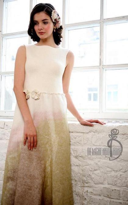 Валяное платье «Winter rainbow» - белый,свадьба,нежность,торжество,кофе