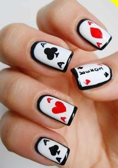 Cards Casino Nail Designs for Short Nails
