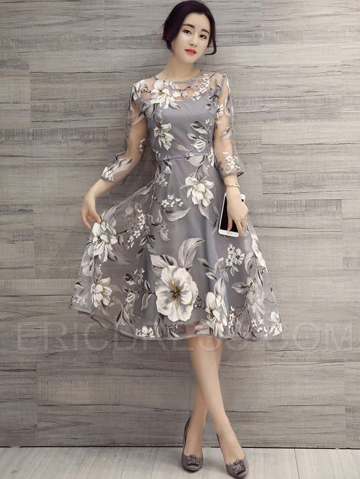 Ericdress Flower Print Three-Quarter Sleeve Expansion Casual Dress 2