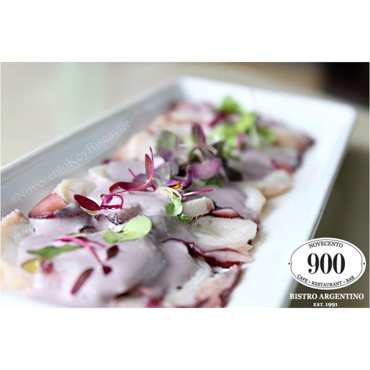 "- MIAMI SPICE ""CARPACCIO DE PULPO"" thinly sliced fresh octopus, Peruvian botija black olive sauce."