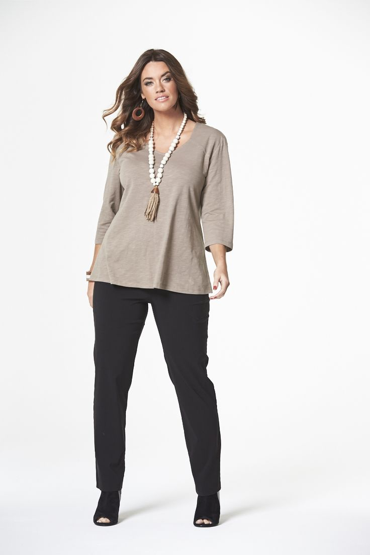 The Naturals Slub Tee in Taupe  #mysize #plussize #fashion #plussizefashion #spring #newarrivals #outfit