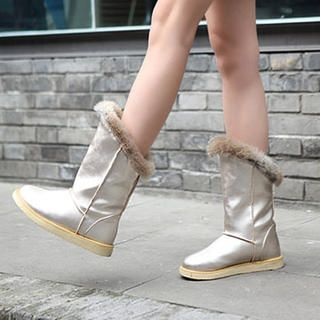 Smoothie - Patentes Faux-guarnição da pele botas de neve
