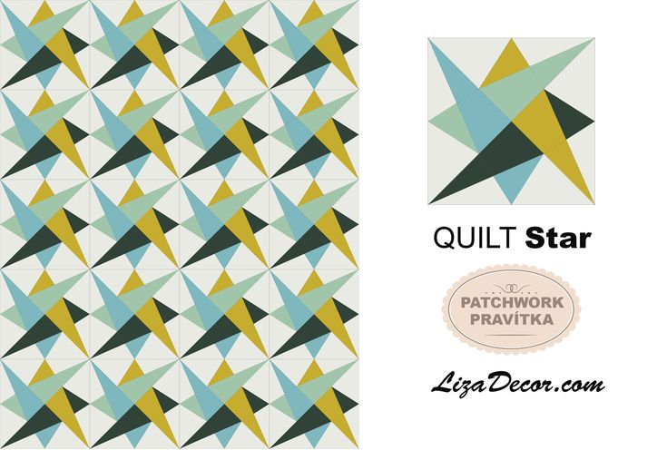 Patchwork Quilt Star & Triangl Hypnotic - LizaDecor.com #lizadecor #patchwork #pattern #video #tutorial #šablony #vzory #quilt #triangl