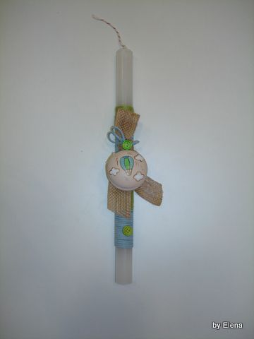 "Handmade Easter candle decorated with hand-painted traditional toy ""yoyo"". www.artimiva.gr"