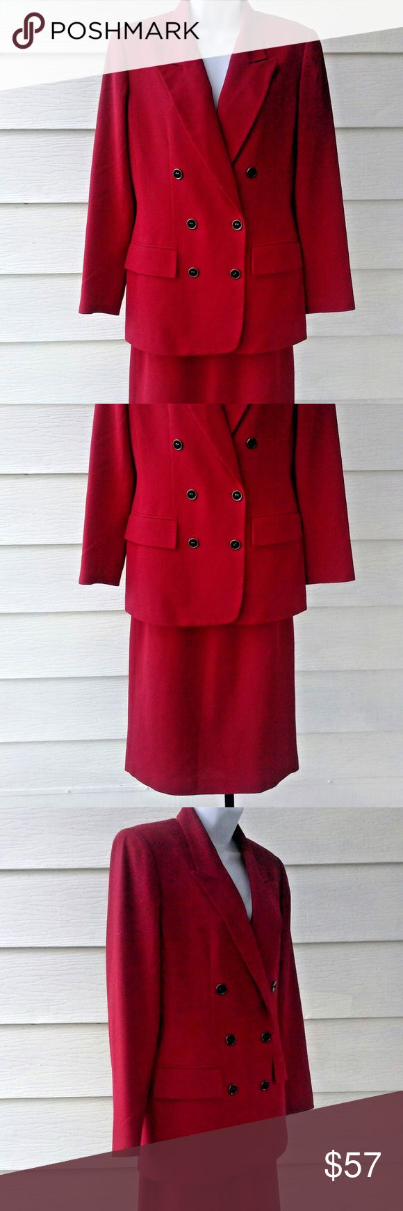 """Skirt Suit Red Wool Career Double Breasted Size 6 Beautiful classic red skirt suit, 2 pc. 100% wool, fully lined, tailored fit, back zipper and button closure,  and a 1 1/2"""" waistband. This suit will come to you freshly cleaned and ready to wear! Party season is around the corner, don't let this one get away! Approximate measurements laying flat are:       Jacket Shoulders 15 1/2"""" Bust 19 3/4"""" Waist 17"""" Hips 19 1/2"""" Length 28 1/2"""" Sleeves 23 3/4"""" Hem 20 1/4""""        Skirt Waist 13 3/4"""" Hips…"""
