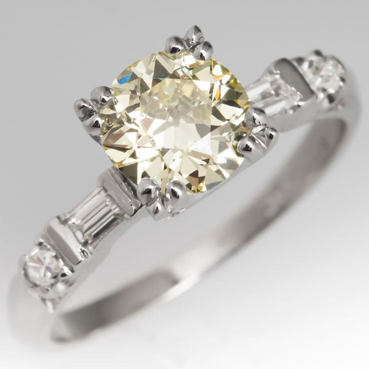 gia fancy light yellow old euro diamond engagement ring - Estate Wedding Rings