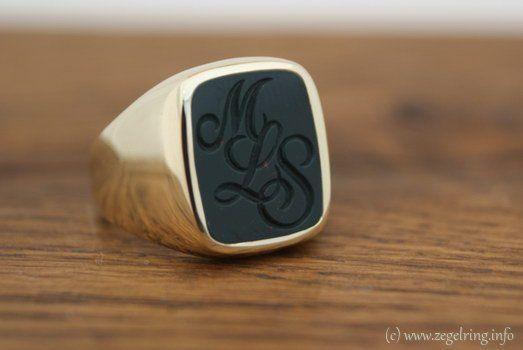 Signet ring (www.signetring.eu   www.zegelring.info) - Gouden ring met steen en gravure (www.zegelring.info)