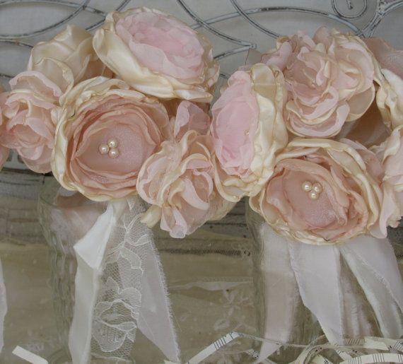 Damigella d'onore Tessuto Bouquet di fiori Set da BurlapandBlingStudio