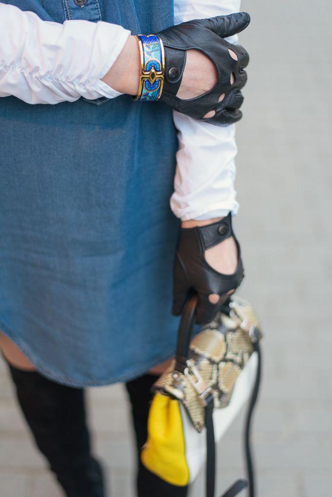 #bag #leathergloves #shirt #bracelet #freywille