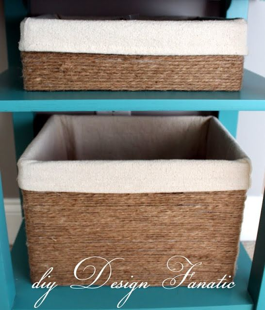 As you may recall I looked for baskets that would fit on the shelves for awhile, but to no avail. I finally found a wine box that was just the right size, glued on some 4 ply jute string and lined it with a drop cloth. I used a boot box (shoebox) that my daughter had to make the smaller box. You can see how I made it here. I buy jute at the dollar tree 100 yds for a dollar
