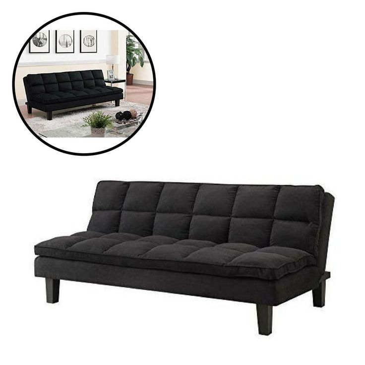 Futon Sofa Bed Full Size Double Black Home Furniture Living Room Sleeping Couch  #Unbranded