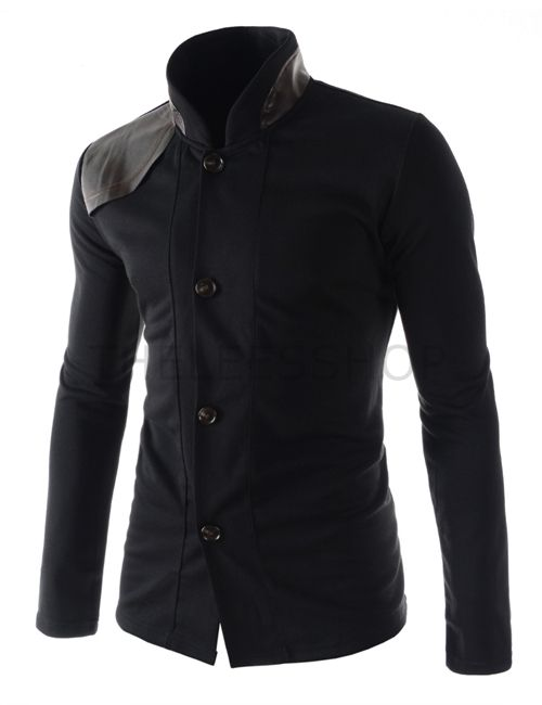 (GD170-BLACK) Mens Slim Fit Leather Patched Long Sleeve 4 Button cardigans