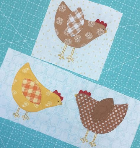 """Bee In My Bonnet: Lori Holt-Bee Happy Sew Along - Week Six!! showing you how to make both of the hen blocks at the same time. You will not need to trim down the Two Hens Block.It should measure 6"""" x 13 1/2"""" do the Bunting Block next... & No need to trim your block down...it should measure 3"""" x 20 1/2"""" to sew into the quilt. You can sew these three blocks together now: jump start on Row 4 by doing the Pumpkins Block next..."""