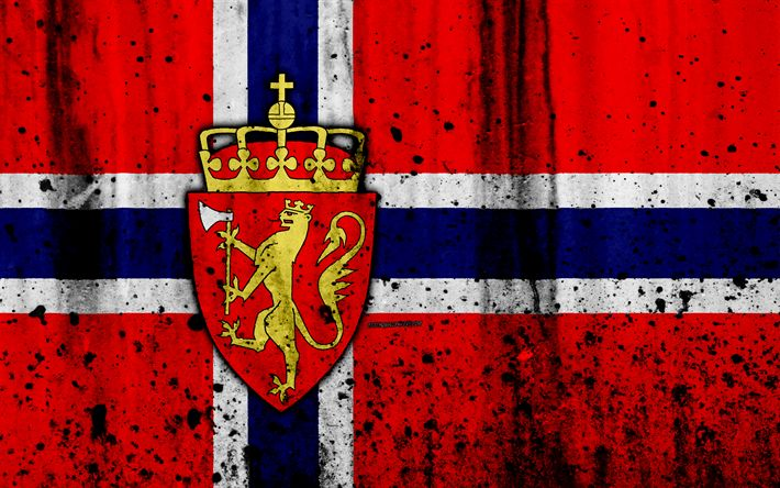Download wallpapers Norwegian flag, 4k, grunge, flag of Norway, Europe, national symbols, Norway, coat of arms of Norway, Norwegian coat of arms