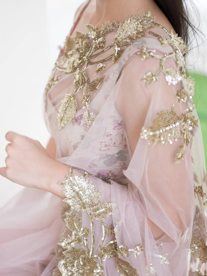Tulle and gold sequins sari by Anushree Reddy.