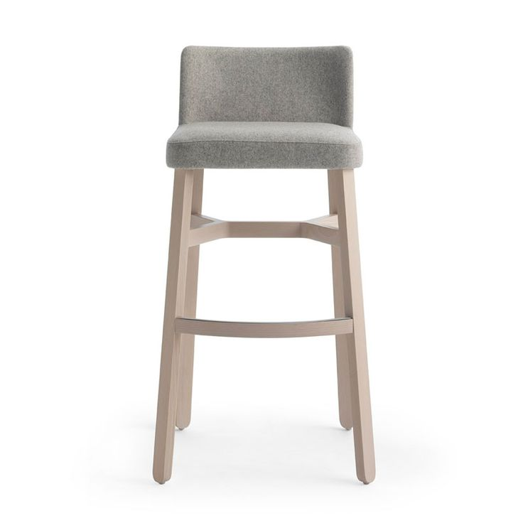 Design: Emilio NanniThe stylish Croissant bar stool with back rest comprises of a solid beech frame, which can be polished to any colour and upholstered in any fabric or leather to suit specific interiors.Upholstery price based on fabric at £10.00 per metre. Small orders will be subject to a surcharge.