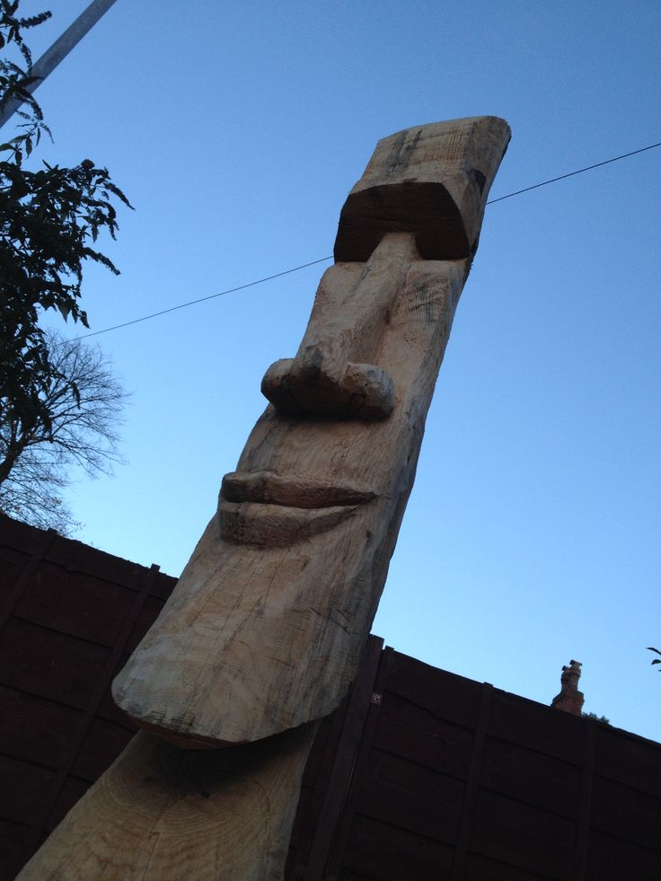 Chainsaw carving easter island head love it carvings
