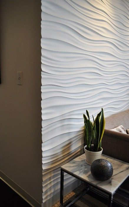 I want a textured wall like this somewhere.  27 Wall Paneling: Interior Ideas Interiorforlife.com Textured modular walls are my crave of the month.