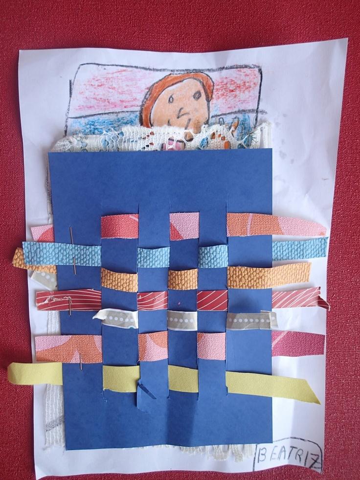 Tejiendo con tiras de papel hacemos una manta para nuestra cama. Infantil de 5 años.pinta imagina