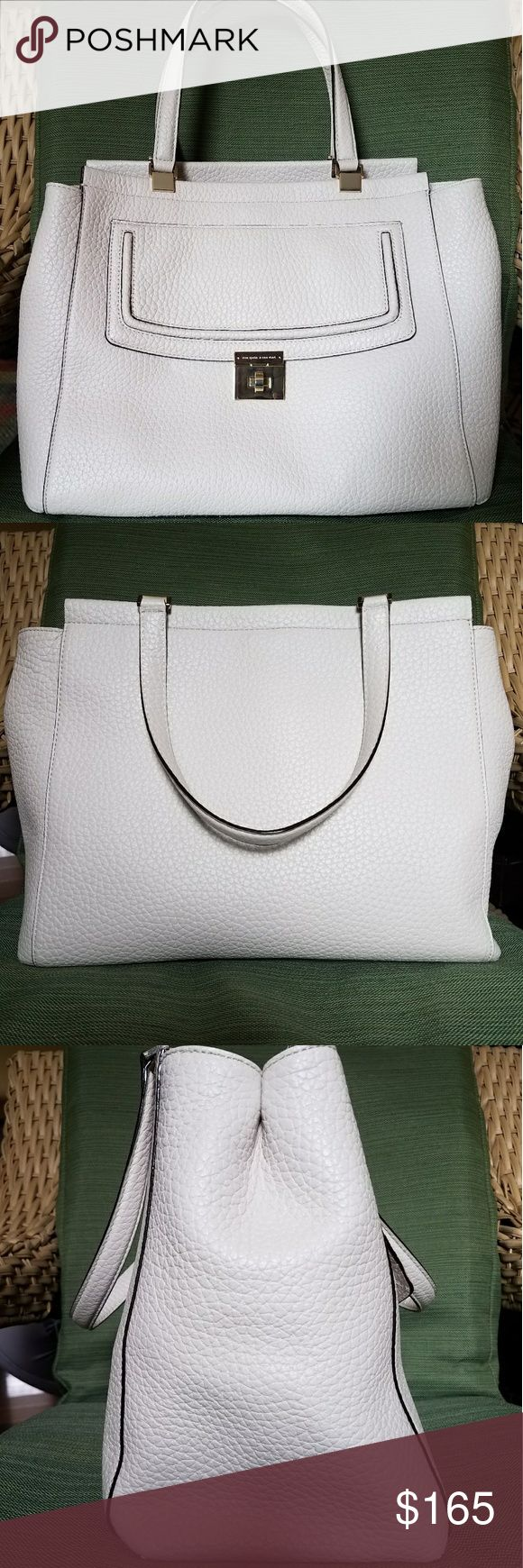 Kate spade Everett Way Thatcher Nwot Kate Spade Everett Way Thatcher tote/ shoulder bag. This large pebbled leather bag comes in a very neutral off white color with gold hardware. Some might call it a chalk color. It is not pure white. Gorgeous and professional looking bag. Large enough to carry all of your essentials. Has a slip pocket on the front of the bag under the lockable flap. kate spade Bags