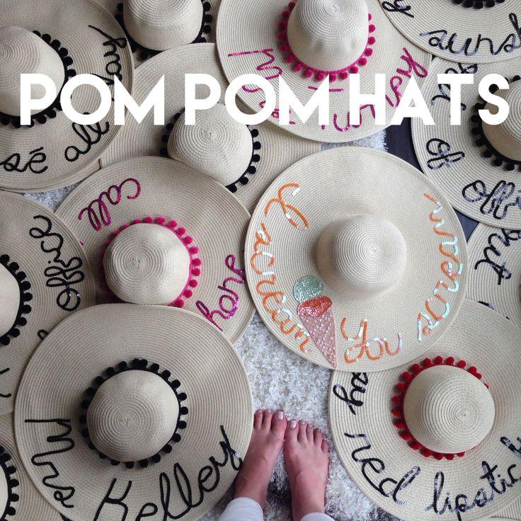 Women's Pom Pom Floppy Sun Hat by HatsByOlivia on Etsy https://www.etsy.com/listing/278669460/womens-pom-pom-floppy-sun-hat