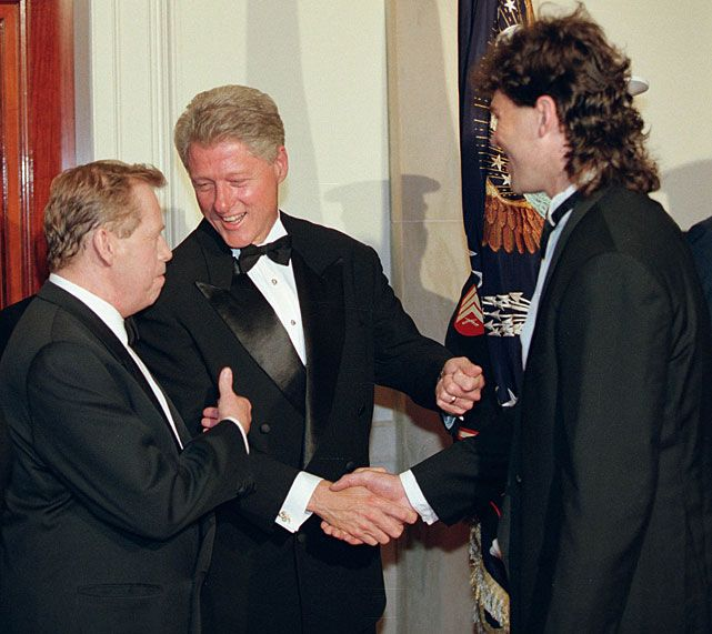 Wow. (I have Czech in-laws -- I'm a dork.) (Wait, I'm not married. My sister has Czech in-laws. I remain a dork.) ||  Then-President Bill Clinton introduces Penguins forward Jaromir Jagr to Czech Republic president Vaclav Havel at the White House in September 1998. Jagr was a part of the gold medal-winning Czech team at the 1998 Winter Olympics.