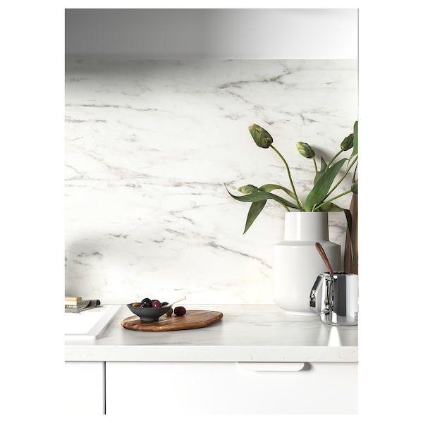 Ekbacken Plan De Travail Blanc Marbre Stratifie 186x2 8 Cm Plan De Travail Ikea Parement Mural