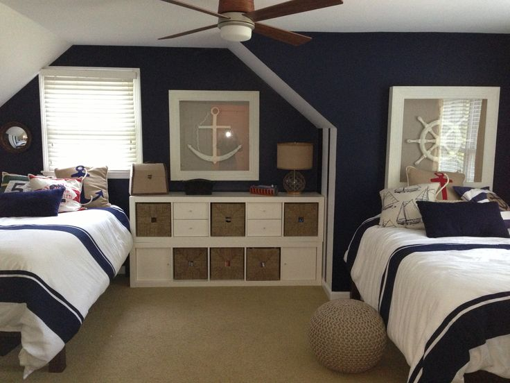 Nautical boys room. Striped bedspreads and navy accent wall.                                                                                                                                                                                 More