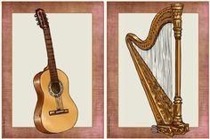Bildkarten für Zupfinstrumente und Schlagwerk/Schlaginstrumente    Weiter geht es mit den Bildkarten  zu bekannten Zupf- und Schlaginstrume...